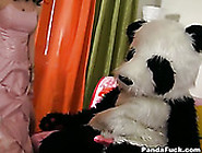 Horny Man In Costume Makes The Girl To Take H...