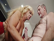 Blonde Granny Gives A Blow Job To A Horny Gra...
