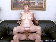 Fat Short Haired Brunette Granny With