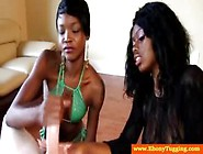 Two African Beauties Stroke A Skinny White Di...