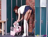 Cute Ginger Babe In Short Skirt Eva Shows Ups...