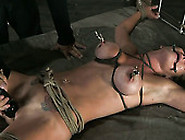 Blonde Felony Has Her Tits Tied And Pulled Wi...