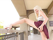 Sexy Outdoor Upskirt With A Girl Shoving Golf...