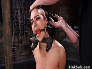 Slave In Bondage Device Gets Head Shaved