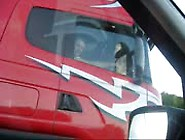 Flashing Her Pussy At Truck Driver