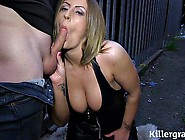 Dogging Slut In Leather Sucks Off Three Guys