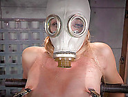 Blonde With A Gas Mask Over Her Face Spreads ...