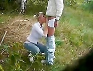 Blonde Chick On Her Knees Sucking Cock Outdoo...