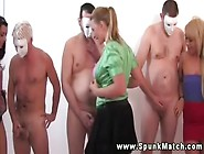 Horny Cfnm Babes In Cum Competition With Each...