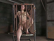 Flat Chested Slave Girl Sits In The Cage And ...