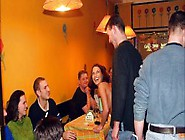 Guy Leads German Girl To Strip In Bar To Show...