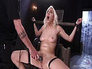 Slutty Blonde Trimmed Pussy Tied Slave Girl G...