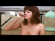 Super Drunk Girl Eats In The Nude