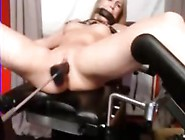Tied Blonde Deal With Dildo Machine