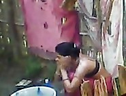 Aunty From Chittoor Outdoor Bath Was Captured...