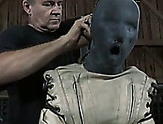 A Mask On Girl's Head And A Straitjacket ...