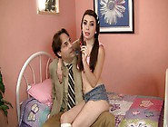 Adorable Pig Tailed Brunette Gets Nailed By H...