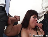Her Fat Old Pussy Is Nailed By Two Cocks