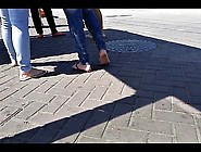 Candid Teen Flip Flop Feet And Soles On Stree...