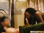 White Dude Fingers African Chick In Ass While...