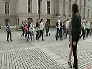 Naked Blonde Walked In Public Plaza Gets Span...