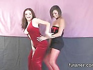 Two Sexy Ladies With Fake Cocks Dancing And G...