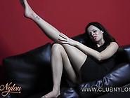 Brunette Tease Nylon Pantyhose For Cum On Her...