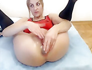 Sexy Blonde Pushing Out Rosebud