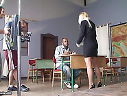 Backstage With Blonde Milf Teacher And Bad Bo...