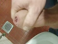 Thick Uncut Cock Cumming In Urinal