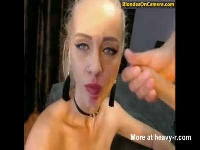 Blonde Whore Glazed In Cum