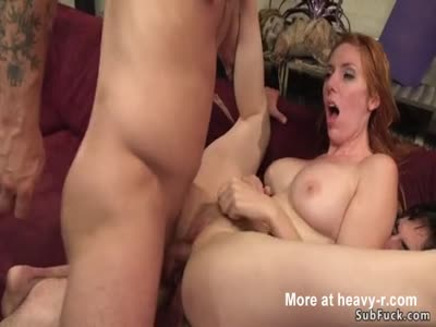 Double Penetration For Busty Redhead
