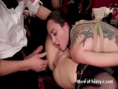 Fat busty slave fucked at bdsm party