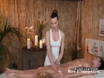 Masseuse Fingers Busty Brunette