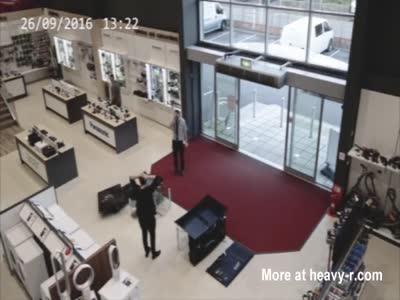 Clumsy Customer Causes Big Mess In Shop