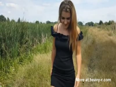 Girlfriend fucks outdoor and gets cum on her tits