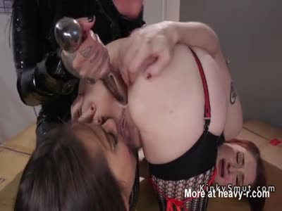 Threesome huge dildos anal insertion