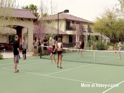 Chloe and Jason have steamy pre party fun at tennis courts