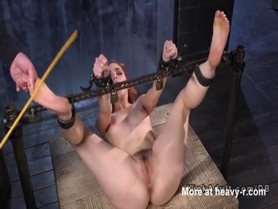 Hairy cunt slave with head in a box