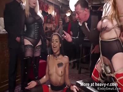 Ebony Banged At BDSM Party