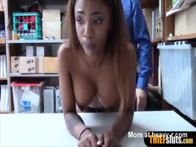 Busty Ebony Thief Caught And Punished