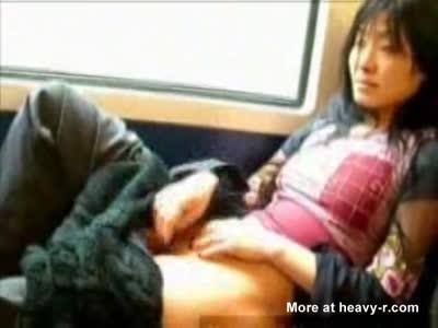 Asian girl masturbating train