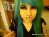 Emo Girl Sew Up Her Mouth