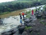 Five people swept over Indian waterfall