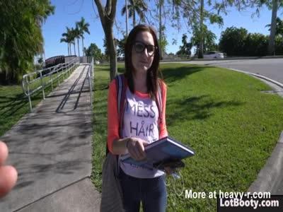 Big ass brunette teen nerd Kelsey Kage