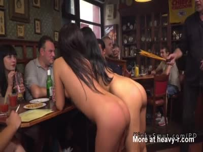 Tanned Slaves Fucked In Public Bar