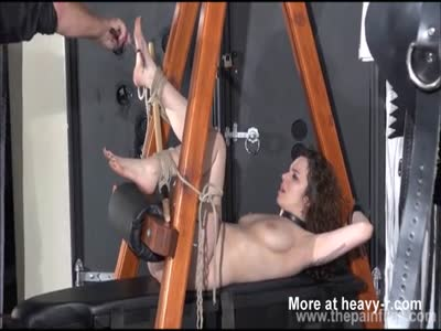 Feet Whipping For Tied Teen