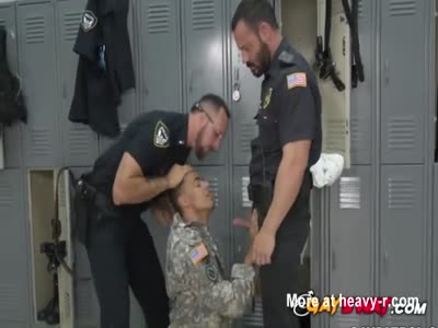 Thug gets a surprise cavity search by horny gay cops
