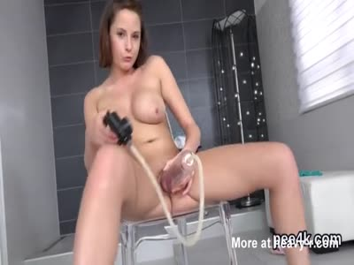 Slut Pisses And Pumping Her Cunt