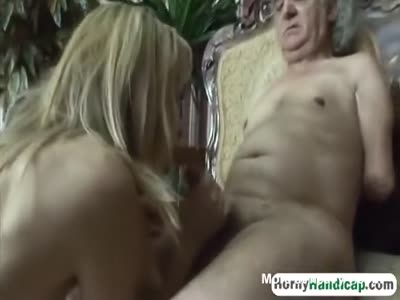 Handicapped Guy Gets To Fuck A Young Beauty